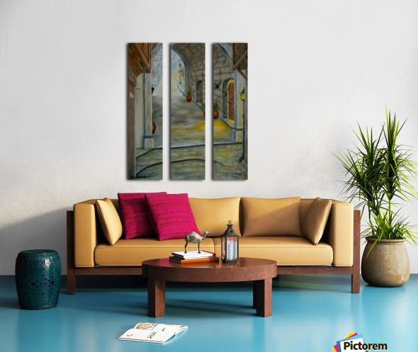 Interior Decor, Inspiration, brown, earthly colors, medieval, town, archway, alley, triptych, 3 split,  canvas, multi panel canvas, print
