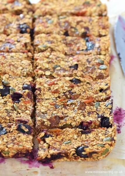 Super healthy granola bar recipe from Olympian Dame Mary Peters - sugar free dairy free and nut free - great healthy snack for the whole family