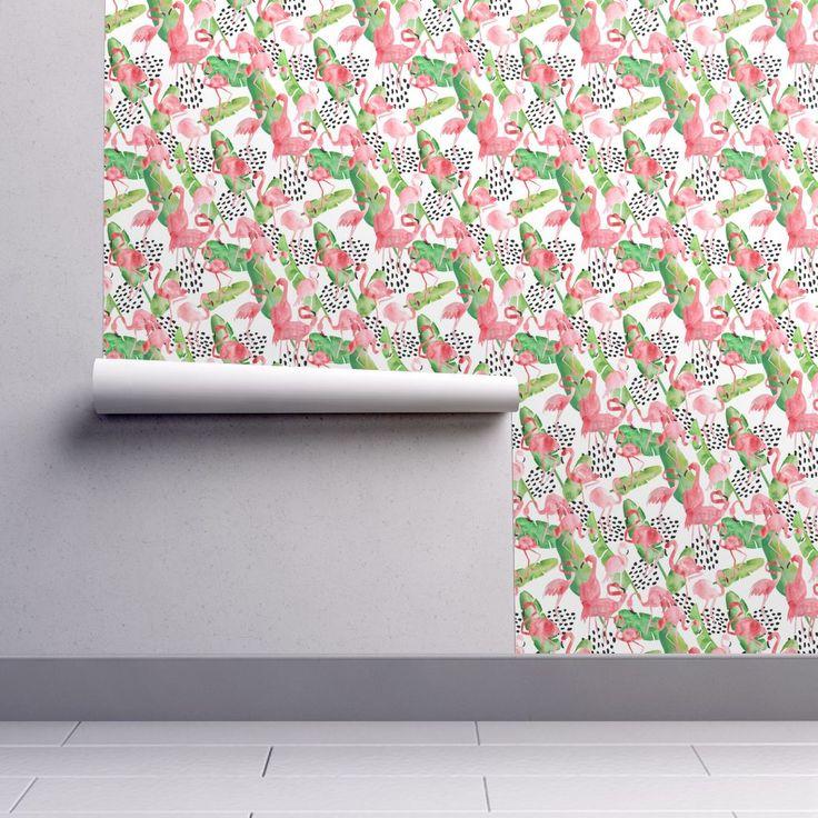 Isobar Durable Wallpaper featuring Flamingo Paradise by limezinniasdesign