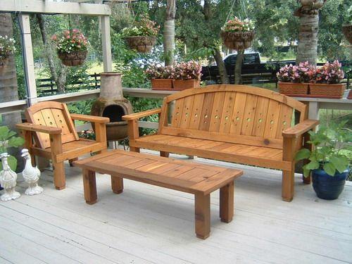 Solid wood western red cedar patio set outdoor benches garden furniture ideas