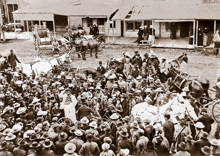 A street scene in abilene circa 1890s shows a medicine