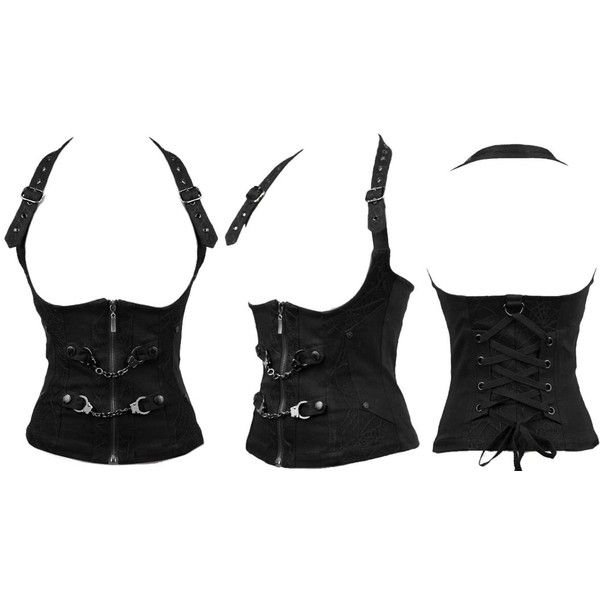 Restriction Corset Top with Handcuffs by Punk Rave (15 PLN) ❤ liked on Polyvore featuring tops, corsets, accessories, vests, gothic tops, halter-neck tops, halter corset top, corset vest and lace up corset