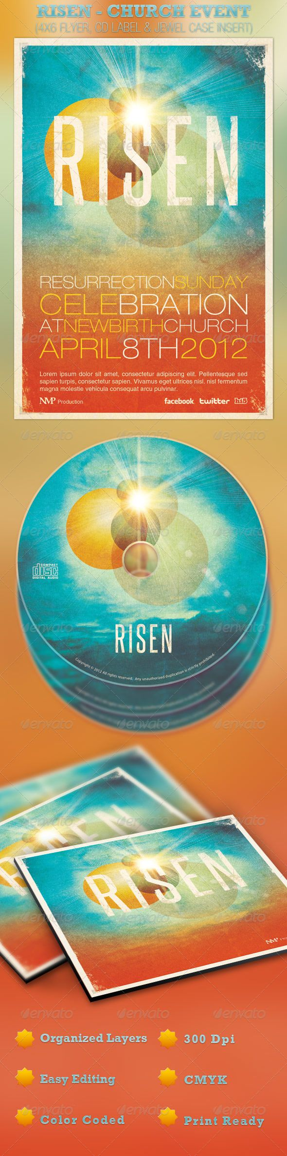 17 best images about church print social media ideas on risen church event flyer and cd template