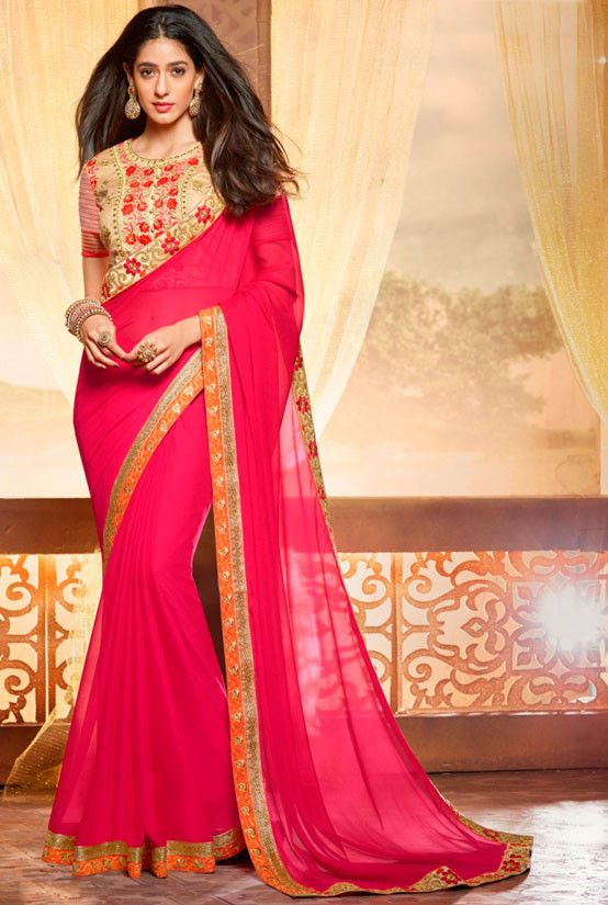 Gorgeous Rani Pink Saree - Sarees - Women