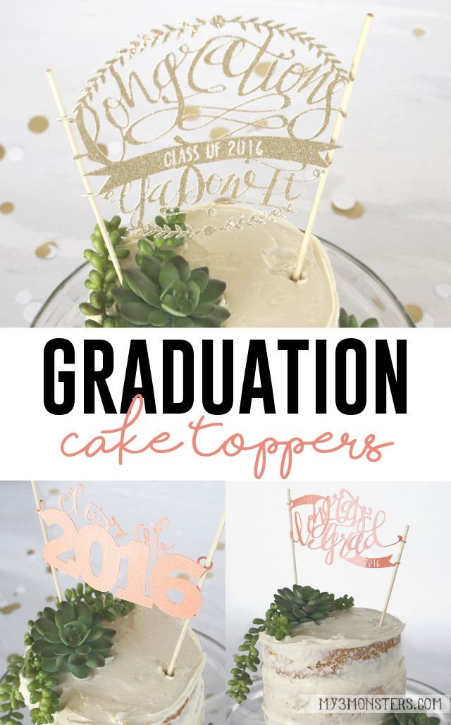 DIY Cut Paper Graduation Cake Toppers with FREE Silhouette Cut Files at my3monsters.com