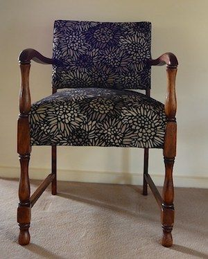 Chair completed by a participant in Padgham Upholstery's traditional upholstery classes