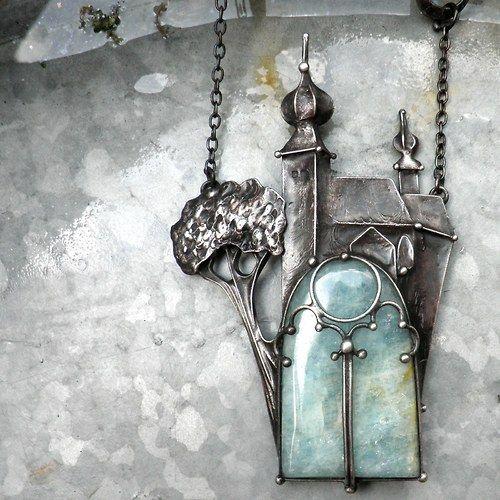 Church necklace made of pewter and aquamarine. Kostel v Žehře...na přání...