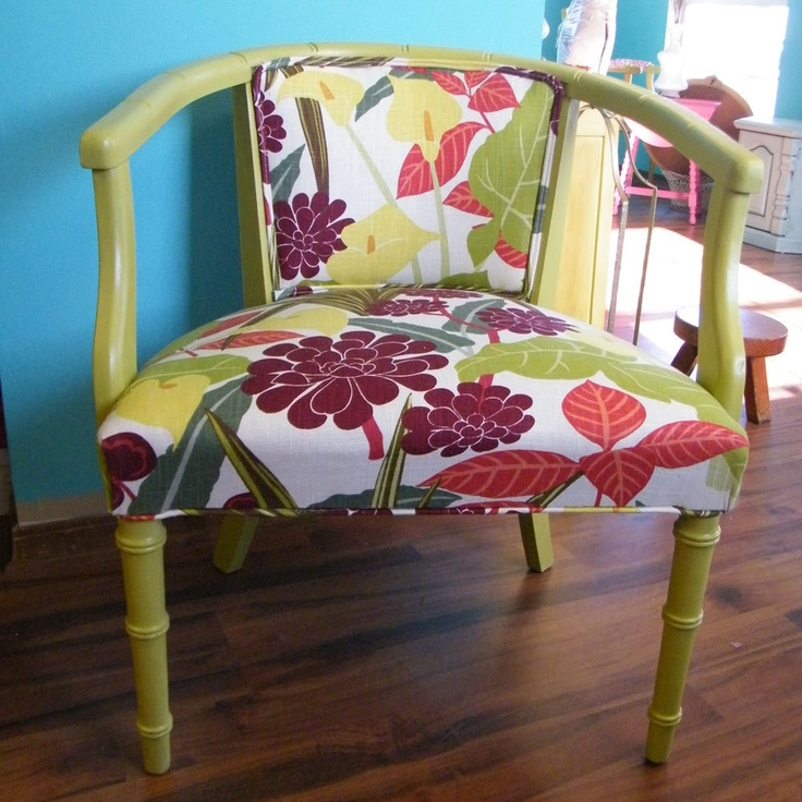 Upcycled Furniture Mid Century Barrel Back Chair New