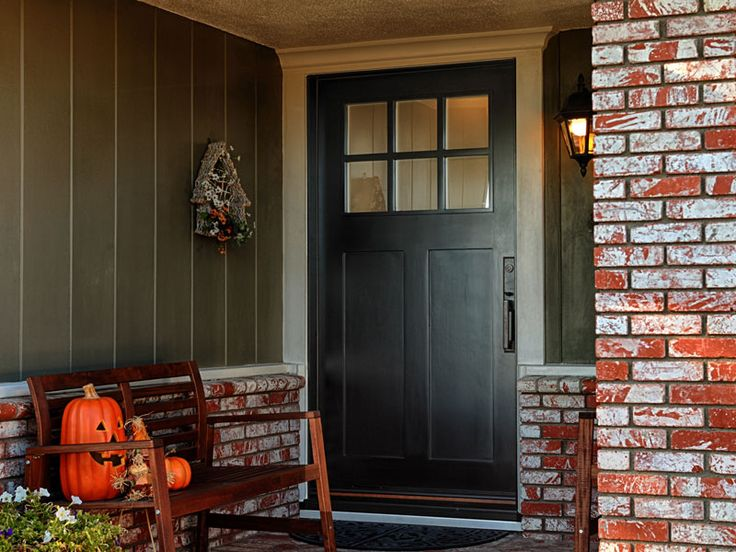 Craftsman Style Entry Door With No Shelf. Jeld Wen Model Aurora Fiberglass  With Frosted Glass Toplight. Split Finish   Factory Painted Black Exterior  And ...