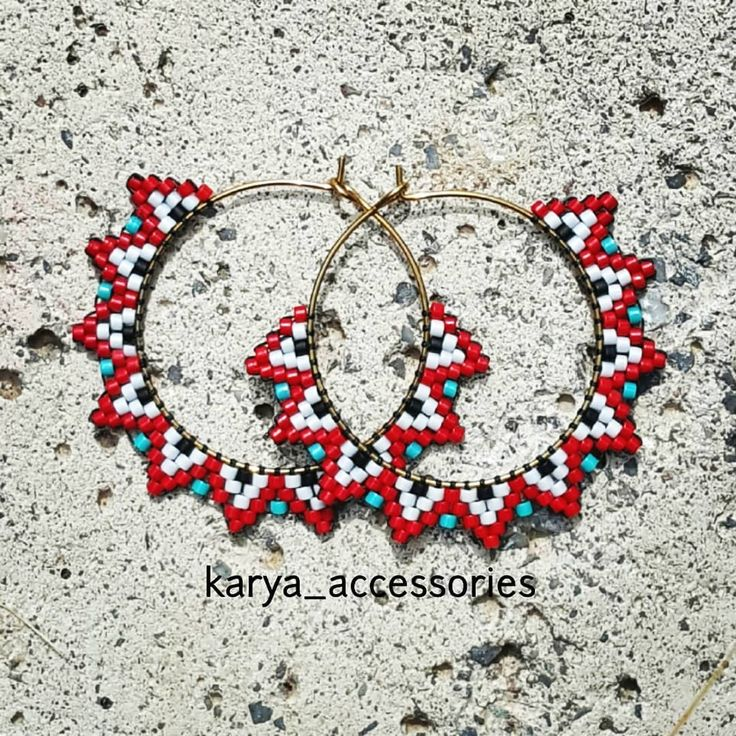 Brick stitch beaded earrings. Made by beadweaving with seed beads. Bead jeweller…
