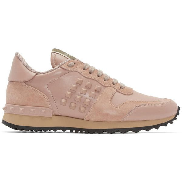 Valentino Pink Leather Rockstud Sneakers ($590) ❤ liked on Polyvore featuring shoes, sneakers, pink, leather shoes, valentino trainers, leather lace up sneakers, pink leather shoes and valentino shoes