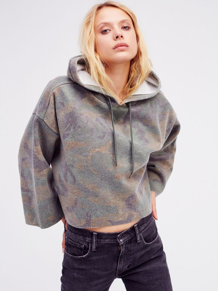 Camo Real Talk Pullover | Ultra cool and relaxed pullover hoodie with a cropped silhouette and cozy fabrication. Features a washed out camo print and unfinished edges for a modern lived-in look. Slits at the oversized sleeves.