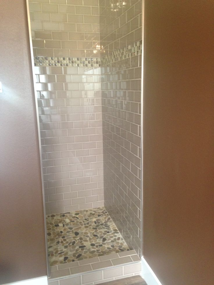 Master Shower Walls 3x6 Subway Tile In A Beige Taupe Color