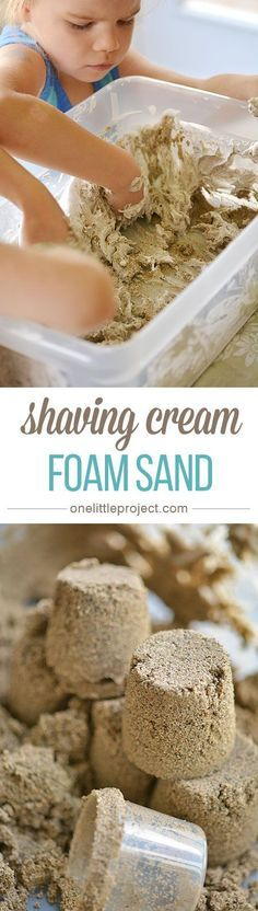 This shaving cream foam sand is an EASY way to make kinetic sand. It only takes two ingredients, and it ends up being a really interesting sensory experiment!
