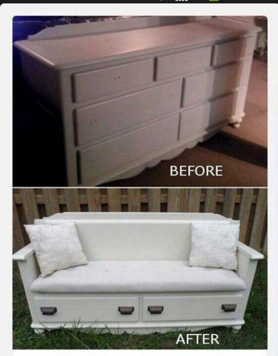 Dresser flip: Dresser to bench with storage. Could also do with old night stand depending on space.