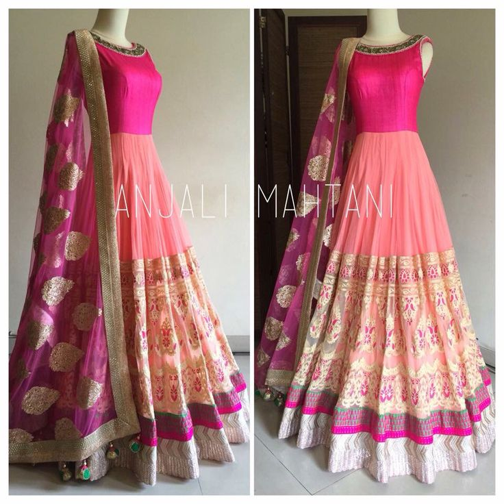 Anjali mahtani anarkali coral peach with embroidery