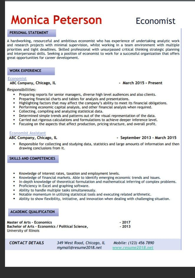 Trends 2018 Resume Format Resume Personal Statement
