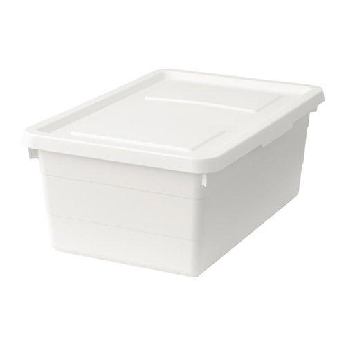 IKEA - SOCKERBIT, Caja con tapa, 38x25x15 cm, , Ideal para guardar ropa, zapatos, equipos de deporte o pequeñas herramientas.El cierre de la tapa integrado la mantiene en su sitio y así proteger el contenido del polvo y la suciedad.Puedes apilar recipientes de diferentes tamaños, ya que están diseñados para encajar entre sí.