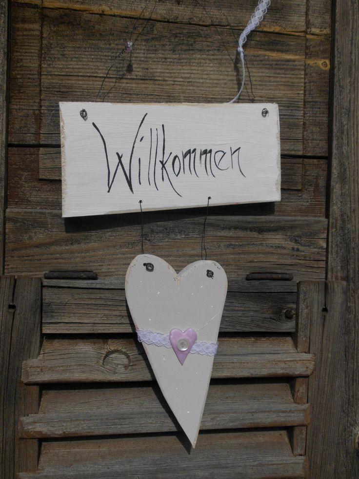 Holzherz, Haustüre, Schild, Willkommen, Sommer, rosa, Herz, Landhaus, Country, vintage, shabby, weiß, cremè 18€
