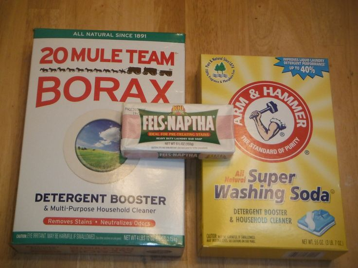 1 (4 lb 12 oz) Box of Borax 1 (3 lb 7 oz) Box of Arm & Hammer Super Washing Soda 1 (3 lb) Container of OxiClean 2 (5.5 oz) Bars of Fels-Naphta 1 (5 lb) Bag of Arm & Hammer Baking Soda 20 drops  Essential Oil (optional) some people use Purex crystals for scent