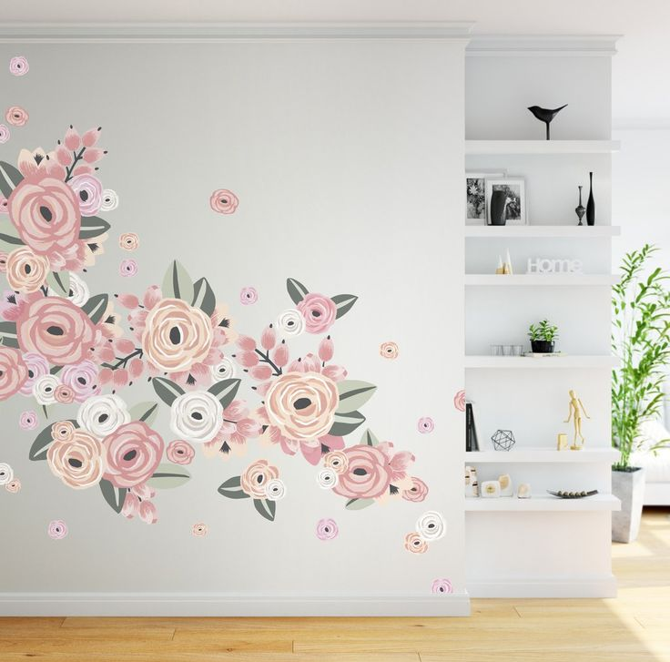 Graphic Flower Cluster Wall Decals Design Inspirations