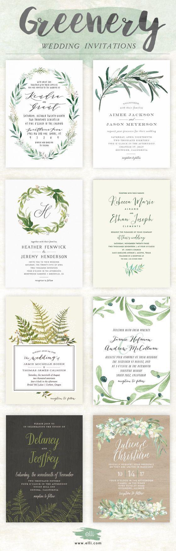 Trending for 2017 - greenery wedding invitations from http://Elli.com
