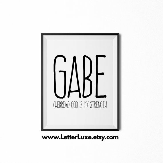158 best baby name meaning art images on pinterest baby names gabe printable kids gift name meaning art baby shower gift nursery art digital print nursery decor typography wall decor negle Image collections
