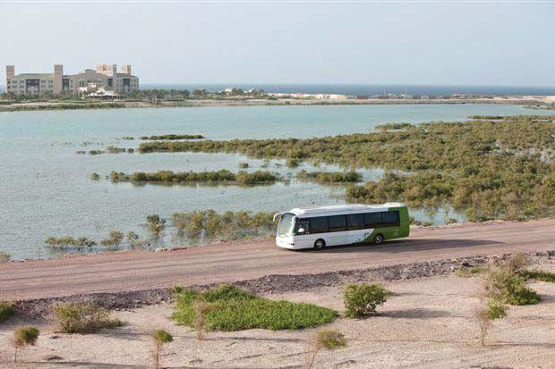 Zero-emission electric bus on Sir Bani Yas Island #AbuDhabi #UAE