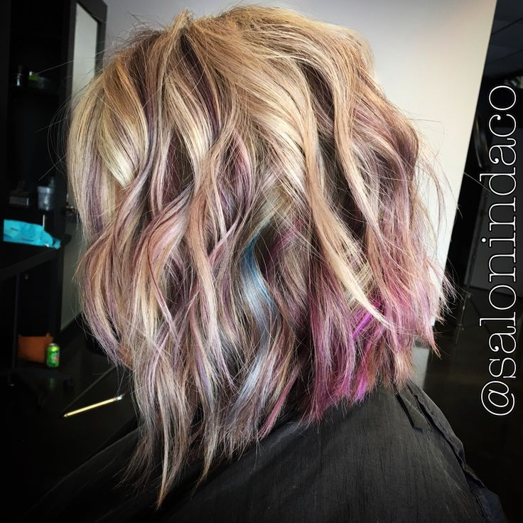 Joico Intensity Peekaboo Pastel Color Unicorn Hair Blonde Highlights Textured Swing Bob Asymmetrical Haircut