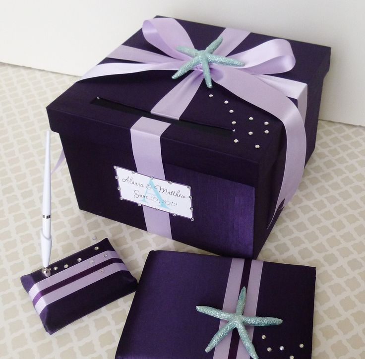 Wedding Card Box Purple Plum Lavender Beach Theme Starfish Custom