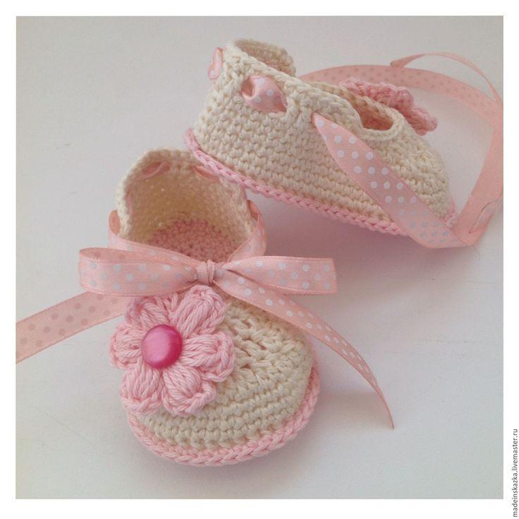 Купить Пинетки туфельки с лентой - комбинированный, пинетки, пинетки для новорожденных, пинетки для девочки, пинетки в подарок