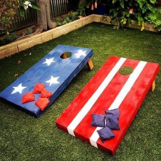 bean bag toss boards / http://www.himisspuff.com/red-white-and-blue-4th-of-july-wedding-ideas/5/