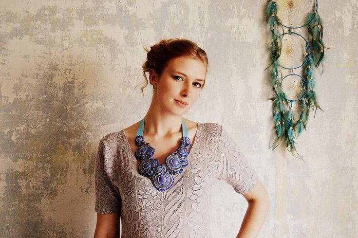 Bead Necklaces – Lavender Ice Cream - soutache necklace – a unique product by Tamarchi on DaWanda