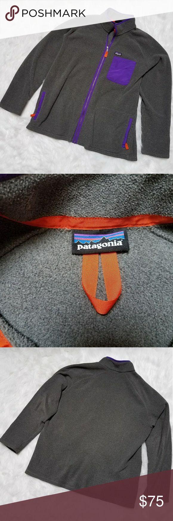 Men's Patagonia zip up fleece size XXL Men's Patagonia grey zip up fleece, size XXL size tag is missing, measurements pit to pit 28, purple and orange accents Patagonia Jackets & Coats Performance Jackets