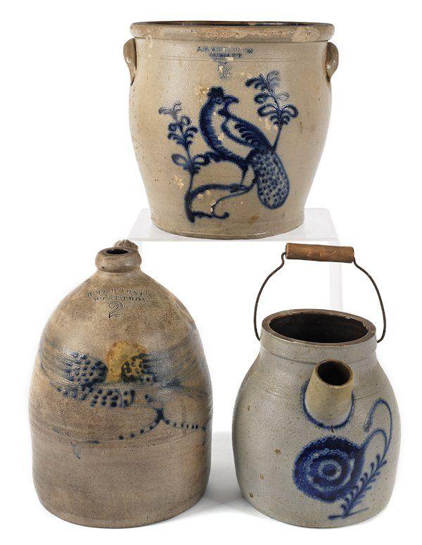 Five-gallon stoneware crock, 19th c., impressed