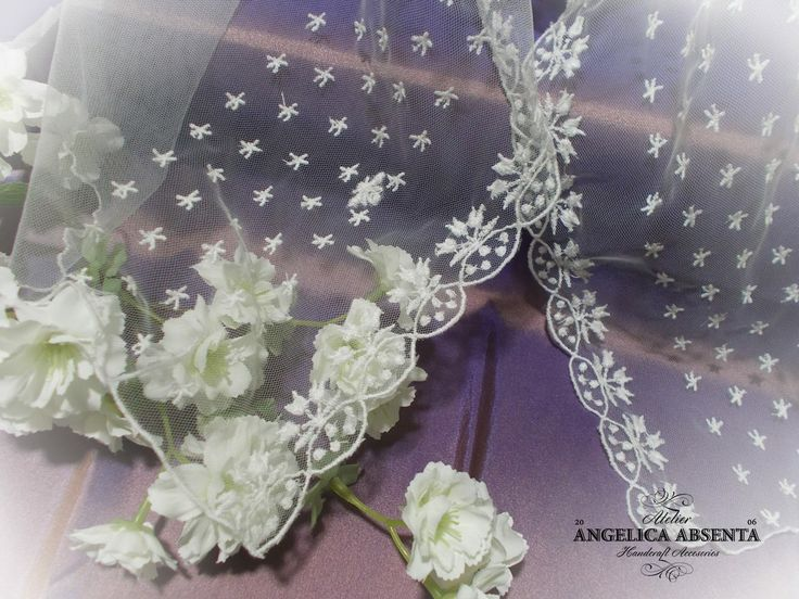 Regency embroidered tulle veil  More info: http://www.facebook.com/angelicaabsenta