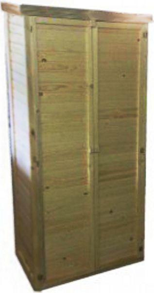 ARMADIO IN LEGNO AD UNO SPIOVENTE Ripostiglio per attrezzi da giardino - Con tre ripiani interni - Con tetto ad uno spiovente con guaina impermeabile - Prodotto in legno di pino impregnato in autoclave cje lo rende resistente all'acqua e alla neve ecc. - Durevole e resistente alla muffa - Dimensioni in cm: Lunghezza 98 - Profondità 45 - Altezza 162