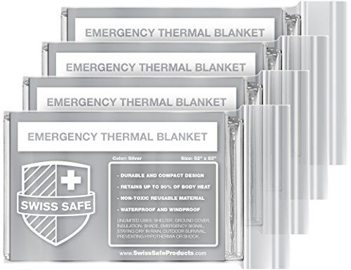 Emergency Mylar Thermal Blankets (4-Pack) + BONUS Signature Gold Foil Space Blanket: Designed for NASA – Perfect for Outdoors, Hiking, Survival, Marathons or First Aid:   <b>Swiss Safe Products has designed the most advanced emergency blanket on the market - meticulously designed to for outdoor enthusiast, the marathon runner or emergency first aid responders.</b> <br><br> It all starts with the material, metalized polyethylene, that reflects 90% of your body heat while also offering a...