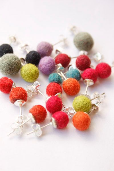 felted ball earrings - make with felt balls and flat pad earring blanks from www.bloomingfelt.co.uk