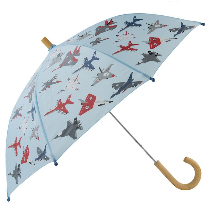 Hatley Jet Fighter Umbrella Hatley Jet Fighter Umbrella with the Jet Fighter Hatley Pattern is the perfect handy accessory to keep your little one dry on rainy day. The Umbrella is a quality child-safe design with a wooden handle. Also has matching Hatley Childrens Raincoat