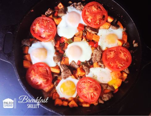 sweet potato, peppers, eggs, top sirloin steak, tomato, avocado