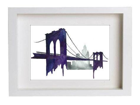 Pont de Brooklyn aquarelle impression de par KelseyMDesigns sur Etsy