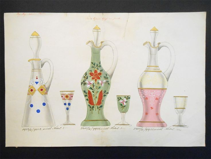 Liberty design. Three glass decanters with their glasses , decorated with floral and geometric patterns , ... made ​​with the technique of tempera. Signed May and S.ehne Parchen . Probably from Austria. year: at about 900. Price: €120. For more information: info@antiquariatoannadonati.com