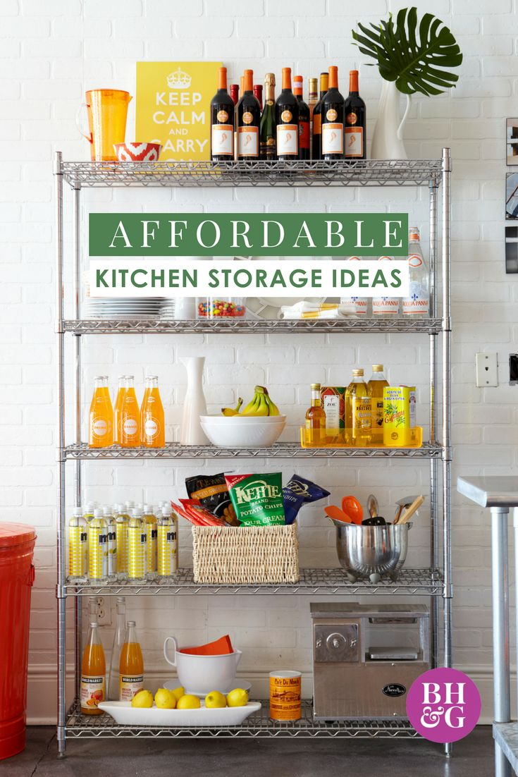 Make creative use of your kitchen space with these cheap kitchen storage ideas! Utilize your pantry and cupboards to their fullest. These storage hacks will get your pots, pans, baking sheets and containers in an organized space! #kitchen #kitchenstorage #storagehacks