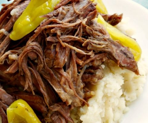 Crock-Pot Mississippi Roast - Simple ingredients for a simple recipe to make a low carb roast that is moist, tender and rich tasting with this recipe for Crock-Pot Mississippi Roast. You can adjust the spiciness by removing all or as many of thepepperoncini peppers as you wish! #LowCarb #LowSugar #Recipe #CrockPot #SlowCooker #CrockPotLadies