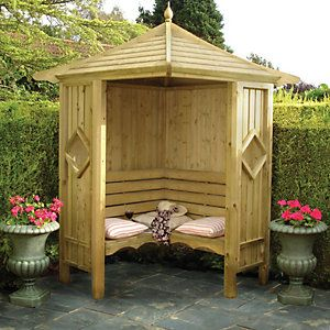 Wickes Honeysuckle Corner Garden Arbour 1250 X 1250 Mm