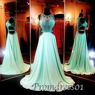 Ball gown, long prom dress, elegant hollow out chiffon prom dress for teens #coniefox #2016prom