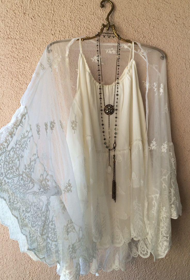 Jens Pirate Booty lace gypsy boho kaftan kimono with cape sleeves / Bohemian Angel