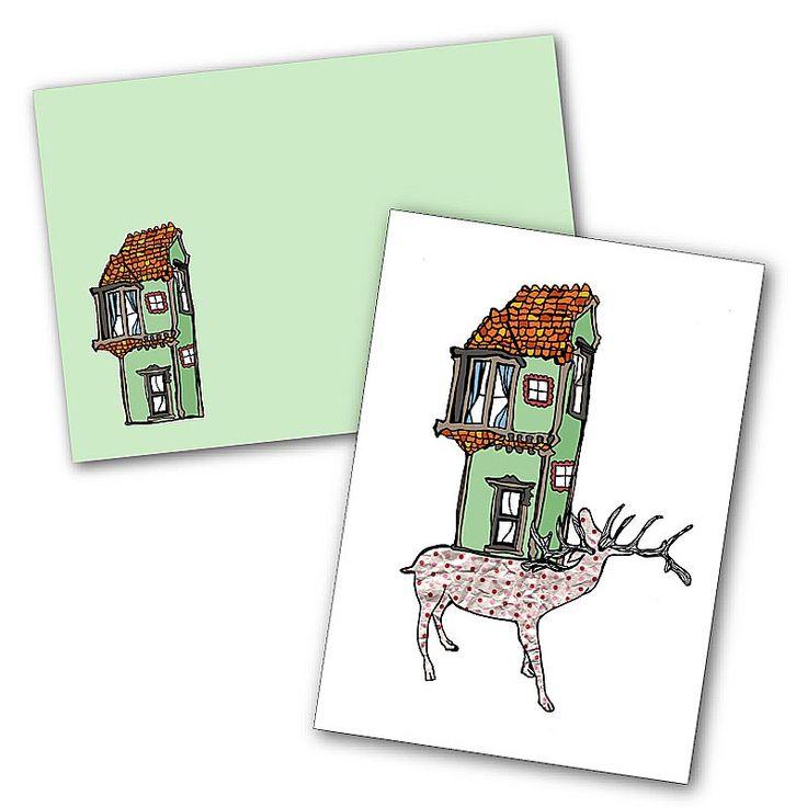 """""""Deer House"""" Blank Greeting Card"""