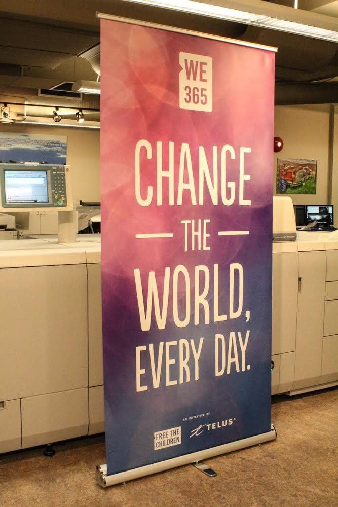 Retractable banner for the #WE365 app: Free the Children and TELUS partner to inspire young people to give back.